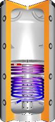 Buffervat met scheidingsplaat, centrale laadbuis en 1 spiraal
