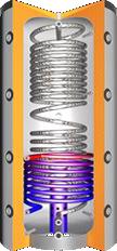 Buffervat met RVS tapspiraal, centrale laadbuis en 1 spiraal